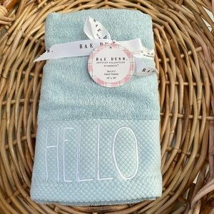 Rae Dunn Two Teal Blue Towels Set  HELLO SPRING